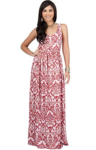 KOH KOH Womens Long Sleeveless V-Neck Summer Flowy Cute Maternity Cocktail Sundress Pregnancy Damask Print Printed Boho Sexy Gown Gowns Maxi Dress Dresses, Dark Red and White M ()