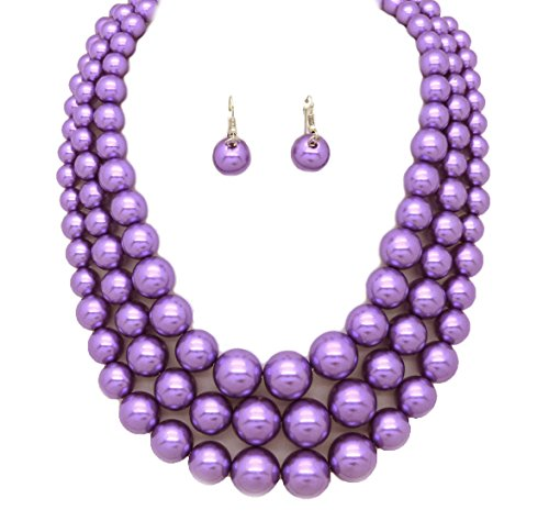 Fashion 21 Women's Three Multi-Strand Simulated Pearl Statement Necklace and Earrings Set ()
