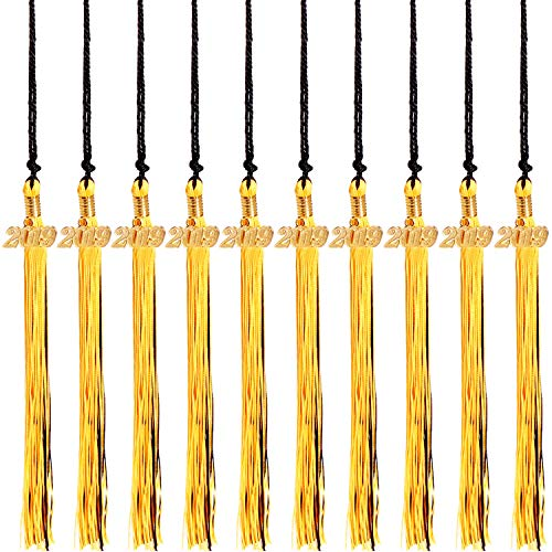 - Mayam 10 Pieces Graduation Tassel Graduation Cap Tassel with Year Charm for Graduation Ceremony Party, 15.75 inches (Black & Gold)
