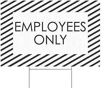 Stripes White Double-Sided Weather-Resistant Yard Sign 18x12 Employees Only 5-Pack CGSignLab