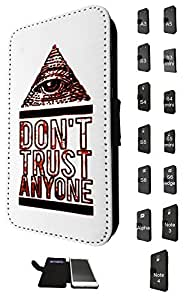 708 - Don't Trust Anyone Pyramid Eye Design Fashion Trend Credit Card Holder Purse Wallet Book Style Tpu Leather Flip Pouch Case Samsung Galaxy A3