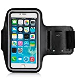 Armband For iPhone 7/6/6S Plus, LG G6 G5, Galaxy s8 s7 s6 Edge s8+,Note 5.etc.CaseHQ Adjustable Reflective Velcro Sport Exercise Running Pouch Key Holder,Screen Protector-Hiking,Biking,Walking(black)