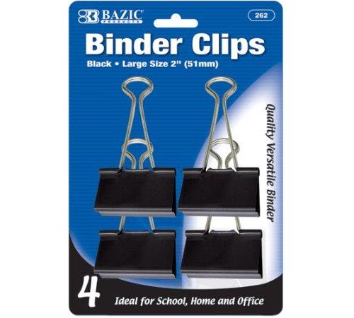 BAZIC Large 2'' (51mm) Black Binder Clip (4/Pack), Case Pack of 144