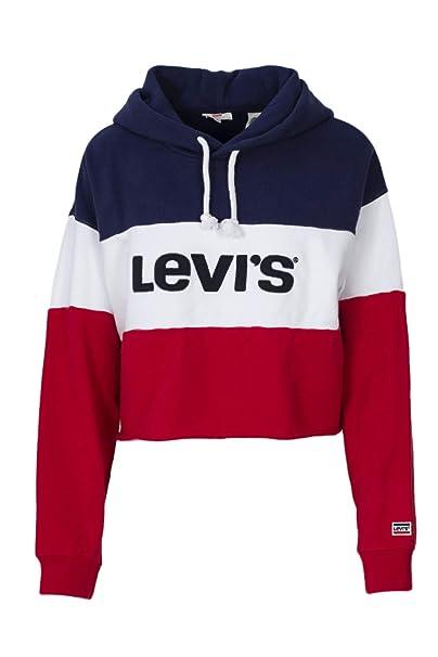 donna ultimo stile del 2019 dove comprare Levi's Felpa con Cappuccio Donna Raw Cut CB Crop Hoodie ...