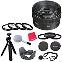 Canon EF 50mm f/1.4 USM Lens & Accessories for Canon EOS Rebel T5, T5i, Sl1, T6, T6i, T6s, 7D Mark II, 60D, 70D, 80D, 6D, 5D Mark III Digital SLR Cameras - International Version (No Warranty)