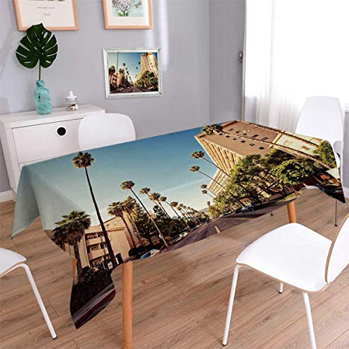 (Urban Square Rectangular Tablecloth A Street in Beverly Hills California Palm Trees Houses Famous City Photo Oblong Wrinkle Resistant Tablecloth Light Blue Peach Green Size: W54