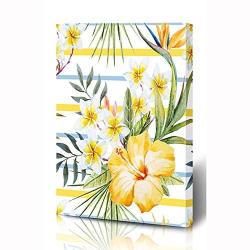 Ahawoso Canvas Prints Wall Art 8x10 Inches Hawaii Beach Watercolor Tropical Pattern Yellow Hibiscus Nature Flower Green Exotic Retro Sea Bar Wooden Frame Printing Home Living Room Office Bedroom