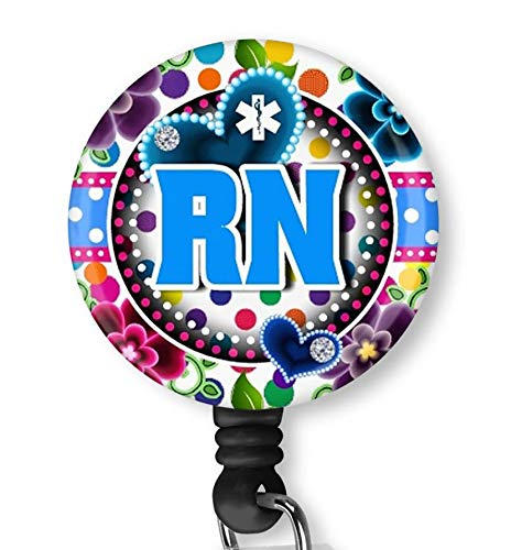 Blue RN Nurse with Flowers Retractable ID Card Badge Holder with Alligator Clip Name Nurse Decorative Badge Reel Clip on Card Holders