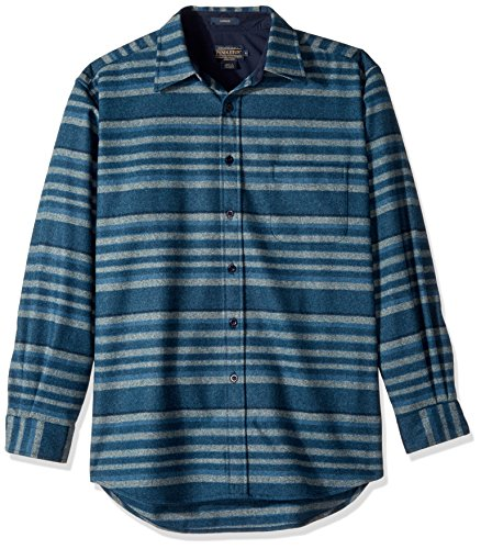 Mens Classic Stripe Shirt (Pendleton Men's Long Sleeve Button Front Classic Lodge Shirt, Indigo Stripe-31944, XXL)