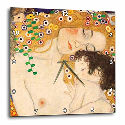 3dRose dpp_157653_2 Mother and Child by Gustav Klimt-1905-Detail from The Three Ages of Woman-Mom and Baby Love-Wall Clock, 13 by 13-Inch Review