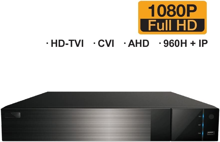 Auto-Detect AHD HDVD 4 CH Total 5CH and 1 IP Security Camera System 2TB HDD Included Analog HD-TVI All-in-One 1080P DVR Digital Video Recorder CVI 1080P//720P 1 IP