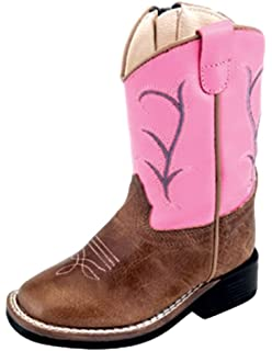 "Pink//Brown AdTec  Tecs Toddler Girl/'s 6/"" Side Zipper Western Cowboy Boot 5579"