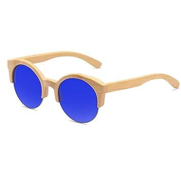 ANLW Gafas De Sol De Madera Redondas UV400 - Gafas Medias De Madera Retro Unisex Gafas De Madera Gafas Polarizadas De Mujer con Caja De Bambú,Bluetablets: ...