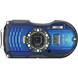 Ricoh Wg  Gps Blue Digital Camera With X Optical Image Stabilized Zoom With  Inch Lcd Blue