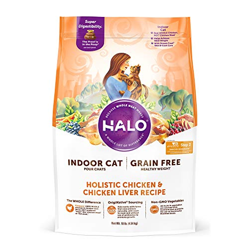 Halo, Purely for Pets 35202 Grain Free Natural Dry Cat Food, Indoor Healthy Weight Chicken & Chicken Liver 10 lb Bag, Brown