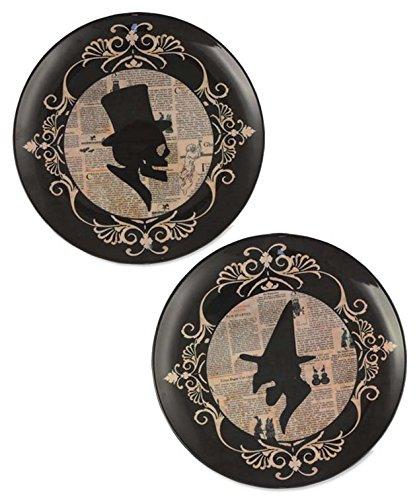 BETHANY LOWE Gothic Design Skeleton Silhouette Melamine Dessert Plates - Set of (Halloween Inspired Appetizers)