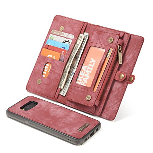 Price comparison product image For Samsung Galaxy S8 / S8 Plus, MNtech Protective Case Leather Removable Wallet Card Slot For Samsung Galaxy S8 / S8 Plus (Watermelon Red, For Samsung Galaxy S8 Plus)