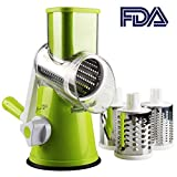Mandoline Slicer with 3 Interchanging Ultra Sharp Stainless Steel Drums Blades Rotary Cheese Grater Cylinders Drums Slicer Stainless Steel Cutter Slicer Shredder Grinder for Cheese Vegetable Fruit