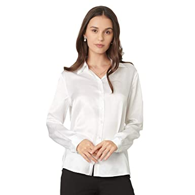 3bd76d012 Image Unavailable. Image not available for. Color: Mommesilk Women's Silk  Blouse Long Sleeve Button Down Shirt Tops for Women 100% Pure Silk