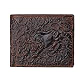 Men's Leather Wallet Carved Bull Bifold Business ID Cards Case