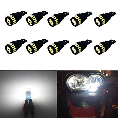 JDM ASTAR 10pcs Super Bright 360-Degree Shine 194 168 175 2825 T10 24-EX Chipsets LED Bulbs,Xenon White (Interior Use Only)