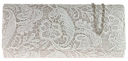 Lace Fashion Wedding Girly HandBags Silver Bag Designer Both Elegant Prom Satin Sides Bridal Evening Clutch Uq1OEw