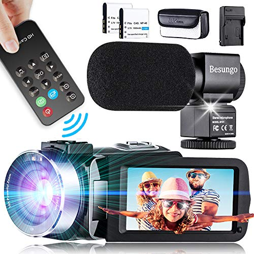 Video Camera with Power Microphone, 1080P Ultra HD Live Streaming Vlogging YouTube Camcorder Camera Remote Control IR Night Vision 3.0″ Touch Screen with Separate Battery Charger, 2 Batteries