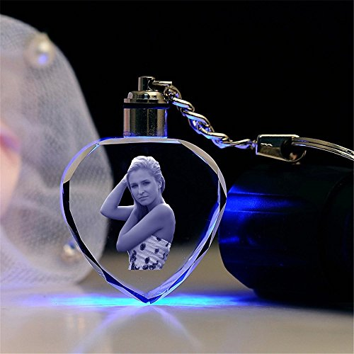 Qianruna Personalized Custom LED Laser Engraved Etched Crystal Glass Keychain Key Rings for Gifts (LED Blue-Heart)