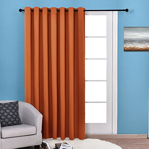Nicetown Energy Smart Ring Top Thermal Insulated Wide Width Solid Blackout Curtains / Drapes For Sliding door,Patio door Curtain Panel (Single Panel,W100
