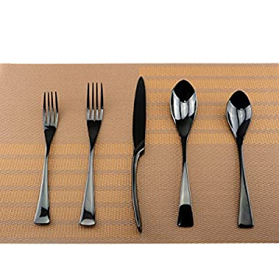 Uniturcky Mirror Polishing Black 18/10 Stainless Steel, 20-Piece Flatware Silverware Set Service for 4 Stainless Steel Cutlery Include Knife Fork Spoon Dishwasher Safe - ? What's in the box - 1 Flatware Set (includes: 1 Dinner Knife, 1 Dinner Spoon, 1 Dinner Fork, 1 Dessert Fork, 1 Salad Spoon.) ? Elegant and simple Design - makes this silverware appropriate for formal events or everyday meals, with reflective mirror finish and a contemporary hadle style with unique embossing makes this pattern truly special. ? Easy to use and clean - Dishwasher safe; Suitable for use in hotels, homes, bars, parties. - kitchen-tabletop, kitchen-dining-room, flatware - 51GJiVvHBzL. SS400  -