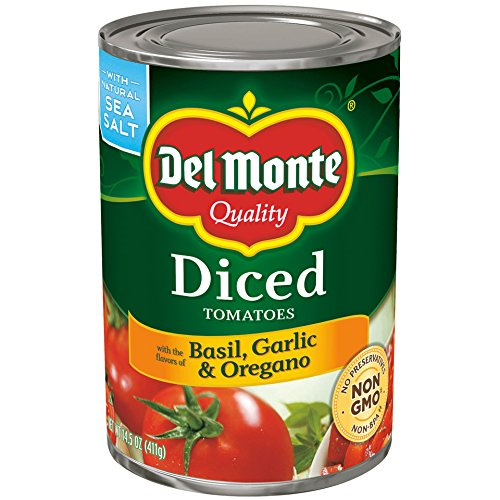 Del Monte Canned Diced Tomatoes with Basil, Garlic & Oregano, 14.5-Ounce