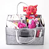 Baby Diaper Caddy Organizer Nursery Storage Bins Car Organizing Bag for Diapering Wipes Large Capacity Portable Travel Toy Basket Light, Sturdy & Versatile Design Perfect Baby Shower Gift for Mama