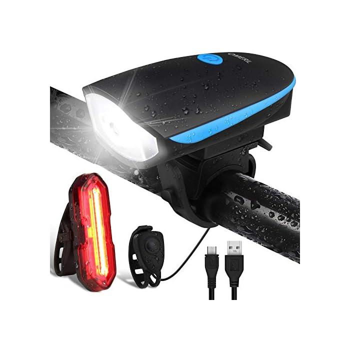 51GJihcodCL ? Súper Brillantes y Múltiples Modos - El luces para bicicleta te ofrece una conducción nocturna segura (luz delantera de 300 lúmenes y luz trasera de 100 lúmenes); La luz delantera tiene 3 modos (Alto - Bajo – Flash - Off); Luz trasera con 5 modos (Rojo - Rojo Intermitente - Blanco - Blanco Intermitente - Rojo / Blanco Intermitente - OFF) ? Impermeable IP65 y Libre Campana de Bici - La Luz bicicleta es adecuada para todo tipo de clima, ya sea niebla o lluvia, las luces de bicicleta le proporcionarán luces de visibilidad para mayor seguridad y protección en condiciones meteorológicas adversas. La luz de bicicleta viene con un cuerno libre - 120 dB hace que su viaje sea más seguro. ? Recargable USB y Carga Inteligente - la batería de litio del interior (1200 mAH) se puede cargar por completo rápidamente en 2 horas, simplemente con un cargador USB, una PC o cualquier puerto USB. El sistema de apagado automático y completamente cargado garantiza la seguridad y una mayor duración de la batería.