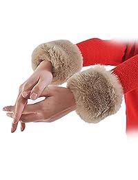 DZT1968® 1 Pair Faux Fox Fur Hair Soft Wrist Band Ring Cuffs Arm Warmer Sleeves