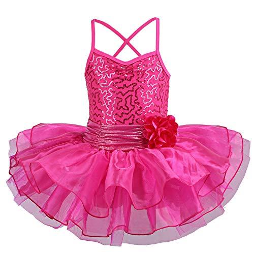 TFJH E Girls' Glitter Ballet Dresses Sleeveless Dancing Leotard Tutus HotPink M