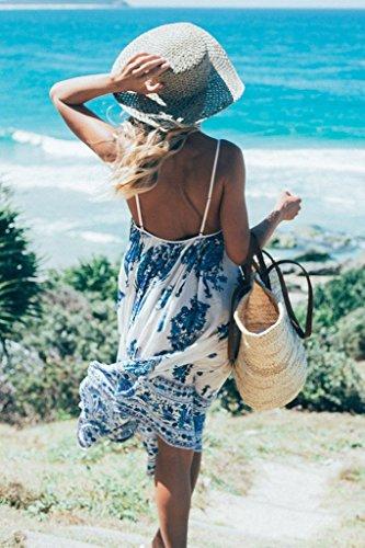 Vestido hibote mangas de Sundresses Peacock verano Impreso Floral Beach maxi Sling Vestidos Blanco sin para Arnés mujer dPgwrP