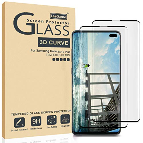(LasGame Galaxy S10 Plus Screen Protector Tempered Glass,[2-Pack][Anti-Fingerprint][No-Bubble][Scratch-Resistant] Glass Screen Protector for Samsung Galaxy S10 Plus)