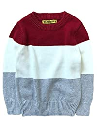 WDREAM Spring Sweaters Boys Girls Round Neck Color Stitching Pullover Tops