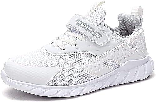 Enfant Chaussure de Course Respirant Entrainement Basket Chaussure Scolaire l'École Walking Shoes Sneakers pour Garçon Et Fille Été Outdoor Noir Blanc