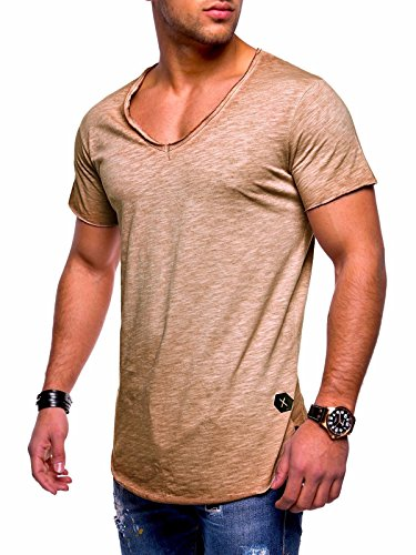 Behype Men's Basic T-Shirt Polo Muscle Tee Casual Tops MT-7102 (S,Beige) -