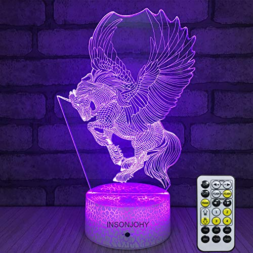 INSONJOHY Unicorn Gifts Kids Night Lights Bedside Lamp 7 Colors Change Remote Control Timer 3D Night Light for Kids Optical Illusion Lamps Kids Lamp As a Gift Ideas Boys Girls (Unicorn-1)