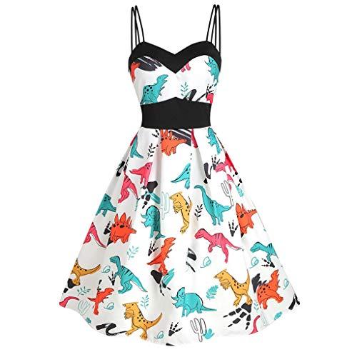 TWGONE Swing Dress for Women Vintage Sleeveless Vintage Dinosaur Cami Empire Waist Dresses(Medium,White)