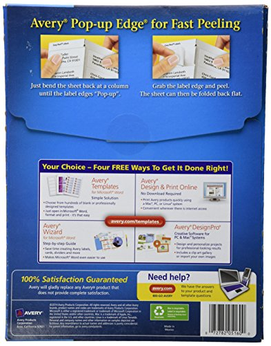 "Avery Easy Peel Address Labels for Laser Printers 1"" x 2-5/8"", Box of 3,000 (5160)"