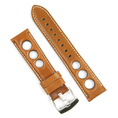 Medium Leather Watch Strap - B & R Bands 22mm Tan Horween Leather Rallye Watch Strap Band White Stitch - Medium Length