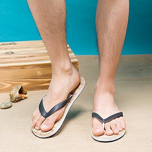 Sandalias Playa Toe Palabra Verano Arrastre Madera Zapatillas Antideslizante De Hombres Hombre Blue cn4Tqwc1A