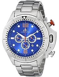 Adee Kaye Men's AK9041-MBU Guardian Analog Display Japanese Quartz Silver Watch