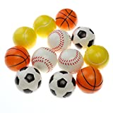 TOYMYTOY 2.5'' Soft Foam Sports Balls For Kids Small Hands with Football Basketball Baseball Tennis 12Pcs