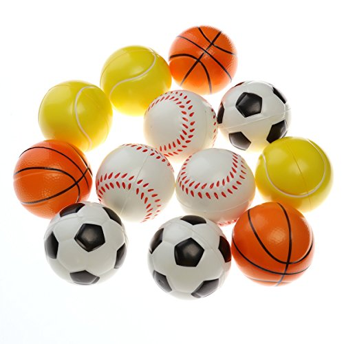 TOYMYTOY 2.5'' Soft Foam Sports Balls For Kids Small Hands with Football Basketball Baseball Tennis 12Pcs by TOYMYTOY