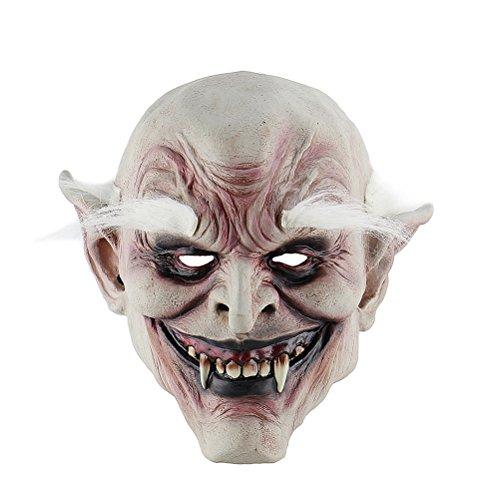 (BESTOYARD Halloween Cosplay Mask Horrific Mask Creepy Terrifying Toothy White Eyebrows Ghost)