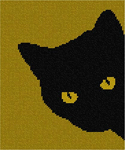 pepita Cat Around Corner Golds Needlepoint ()